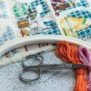 Cross stitch supplies.