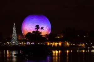 Epcot center at night.