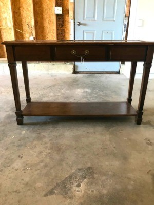 Information on a Mersman Table  - view from a distance of a console style table