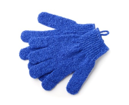 A pair of exfoliating gloves for use in the shower.