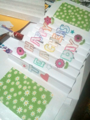 Teacher's Day Pop Up Greeting Card - open card with floral paper rectangles  in place