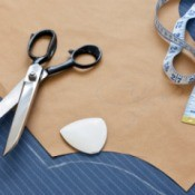 Sewing pattern on a piece of fabric.