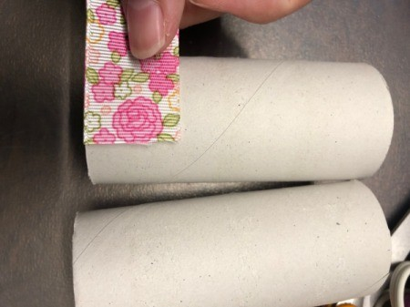 Paper Tube Napkin Rings - measure and mark the width of your ribbon on the paper tube