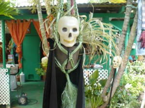 How to Make Halloween Manikins - mask in front of a live plant, with added cape