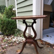 Identifying a Possible Mersman Lyre Side Table - mahogany stain lyre table