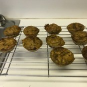 finished Pumpkin Banana Muffins on baking rack