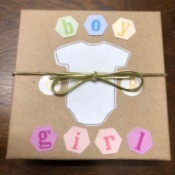 Gender Reveal Surprise in a Box - outside of the box tied shut with cord