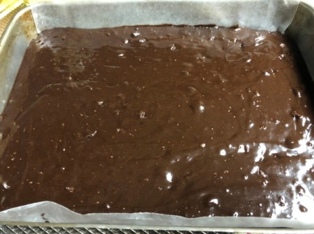 Brownie mix in baking dish