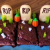 Graveyard Brownies on tray