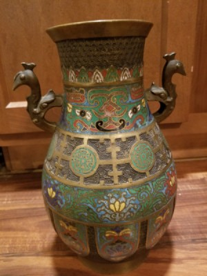 Value of an Antique Japanese Bronze Vase  - enameled bronze vase with peacock handles