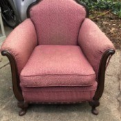 Identifying an Antique Chair - pink upholstered chair with dark wood trim