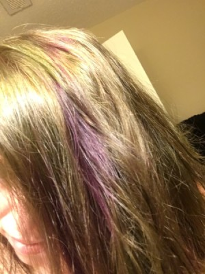 Hair Turned Green After Dyeing - green and purple hair