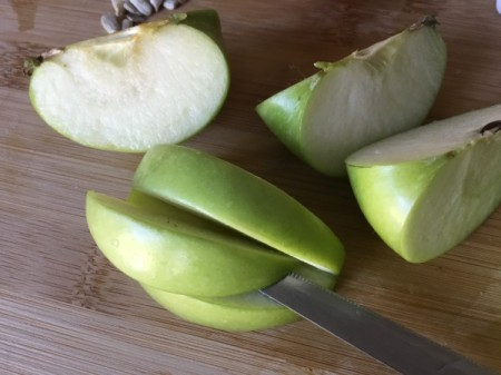 Green Apple Monsters -  cut apples in half and then into equally sized segments