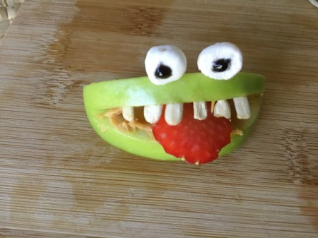 Green Apple Monsters - stick eyes on and add slice of strawberry for the tongue