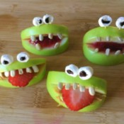 Green Apple Monsters - 4 apple monsters including two with jam instead of peanut butter
