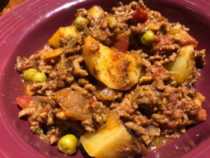 Indian Ground Beef with Potatoes in bowl