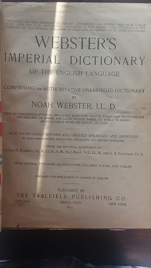 Value of a 1910 Webster's Imperial Dictionary   - cover page