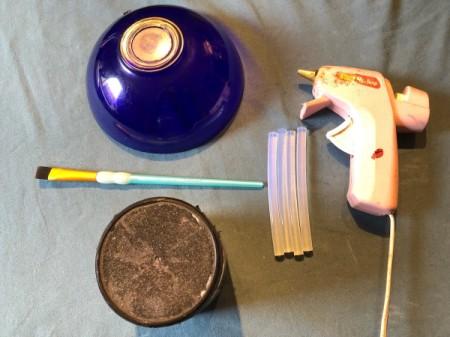 Hot Glue Spiderweb Bowl - supplies