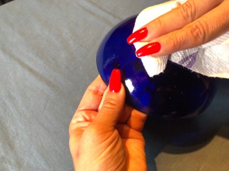 Hot Glue Spiderweb Bowl - clean the outside of the bowl