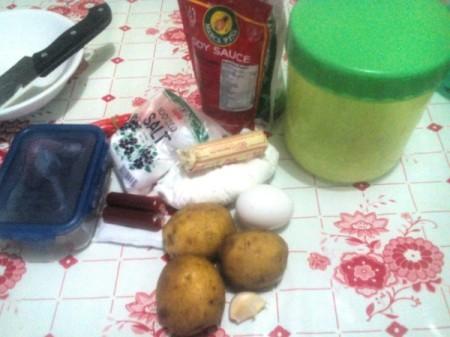 Potato Tempura ingredients