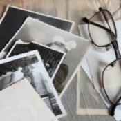 Pile of black and white photos.