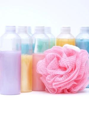 Colorful bottles of bubble bath