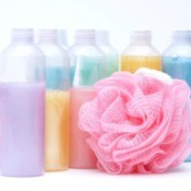 Colorful bottles of bubble bath