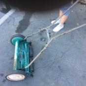 Value of an Old Reel Mower - blue reel mower