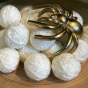 Yarn Ball Spider Egg Sacs - closeup of craft