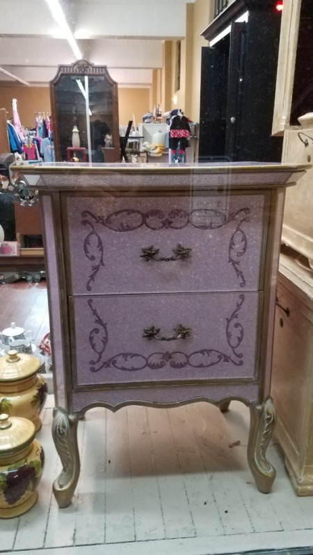 Identifying a Bedroom Set - bedside table with glass fronted drawers
