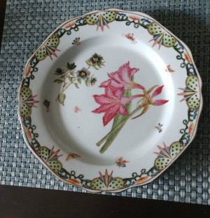 Value of a Chinese Plate - plate with floral design in center and ornate edge design