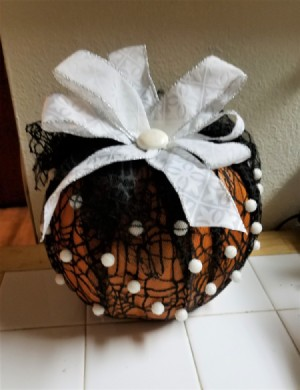 Black Lace and White Ribbon Pumpkin