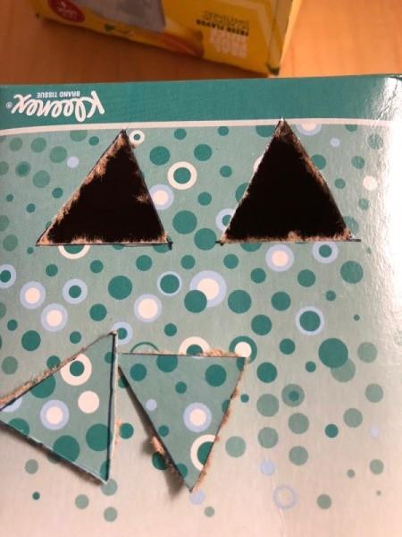 Cardboard Halloween Pumpkin and Ghost - eyes cut out