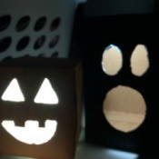 Cardboard Halloween Pumpkin and Ghost - lighted box decorations
