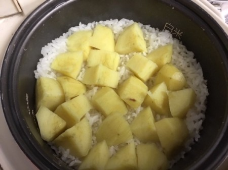 cooked Sweet Potato and Rice in pan