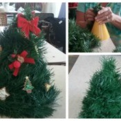 Cone Christmas tree table decoration.