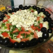 olives, green onions, and feta