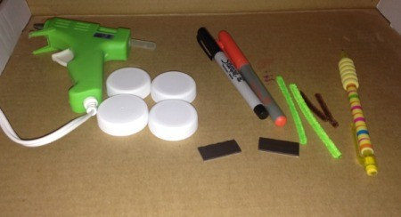 Milk Lid Pumpkin Magnets  - supplies