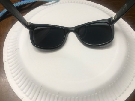 Last Minute Spider Face Mask - trace sunglasses frame onto the paper plate or black paper