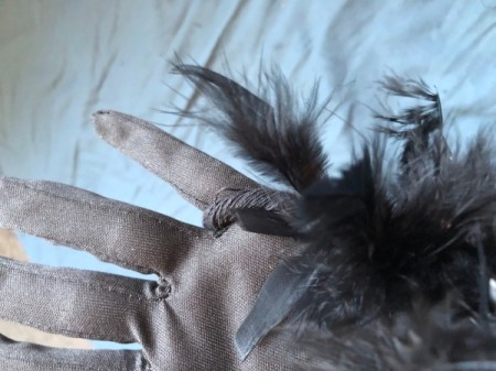 Raven Masquerade Costume - hook loop end of boa around the pinky finger of your gloves and sew in place