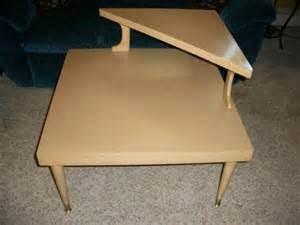 Replacement Ferrules for Mersman Tables - blond color table with triangular second small shelf in one corner