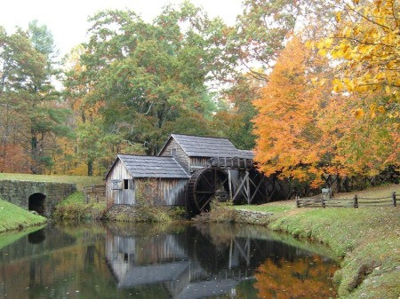 Fall at Mabry Mill, VA - old mill with fall color