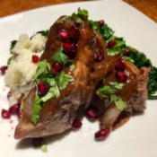 Glazed Pomegranate Pork Ribs on plate