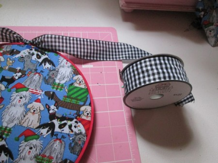 Embroidery Hoop Pet Art - hoop with fabric and roll of ribbon