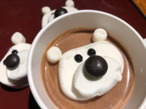 Marshmallow Polar Bears - melting bear in a cup of hot chocolate