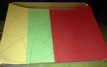 Pumpkin Pie Garland - different color sheets with slices traced on