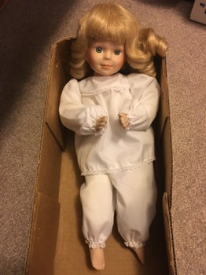 Value of a Porcelain Doll - doll in a cardboard box