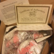 Value of Candy Cane Twins Porcelain Dolls - box with dolls wrapped in plastic