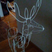 A outdoor reindeer decoration.
