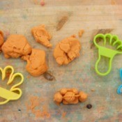Peanut Butter Play Dough - orangish tan play dough with cutters